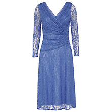 Buy Gina Bacconi Floral Lace Ruched Dress, Blue Online at johnlewis.com