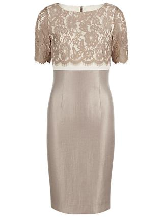 Gina Bacconi Scallop Floral Lace Shimmer Dress, Oyster