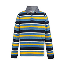 Buy John Lewis Boys' Stripe Patch Pocket Rugby Shirt, Blue/Yellow Online at johnlewis.com