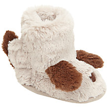 Buy John Lewis Baby Dog Booties, Cream/Brown Online at johnlewis.com