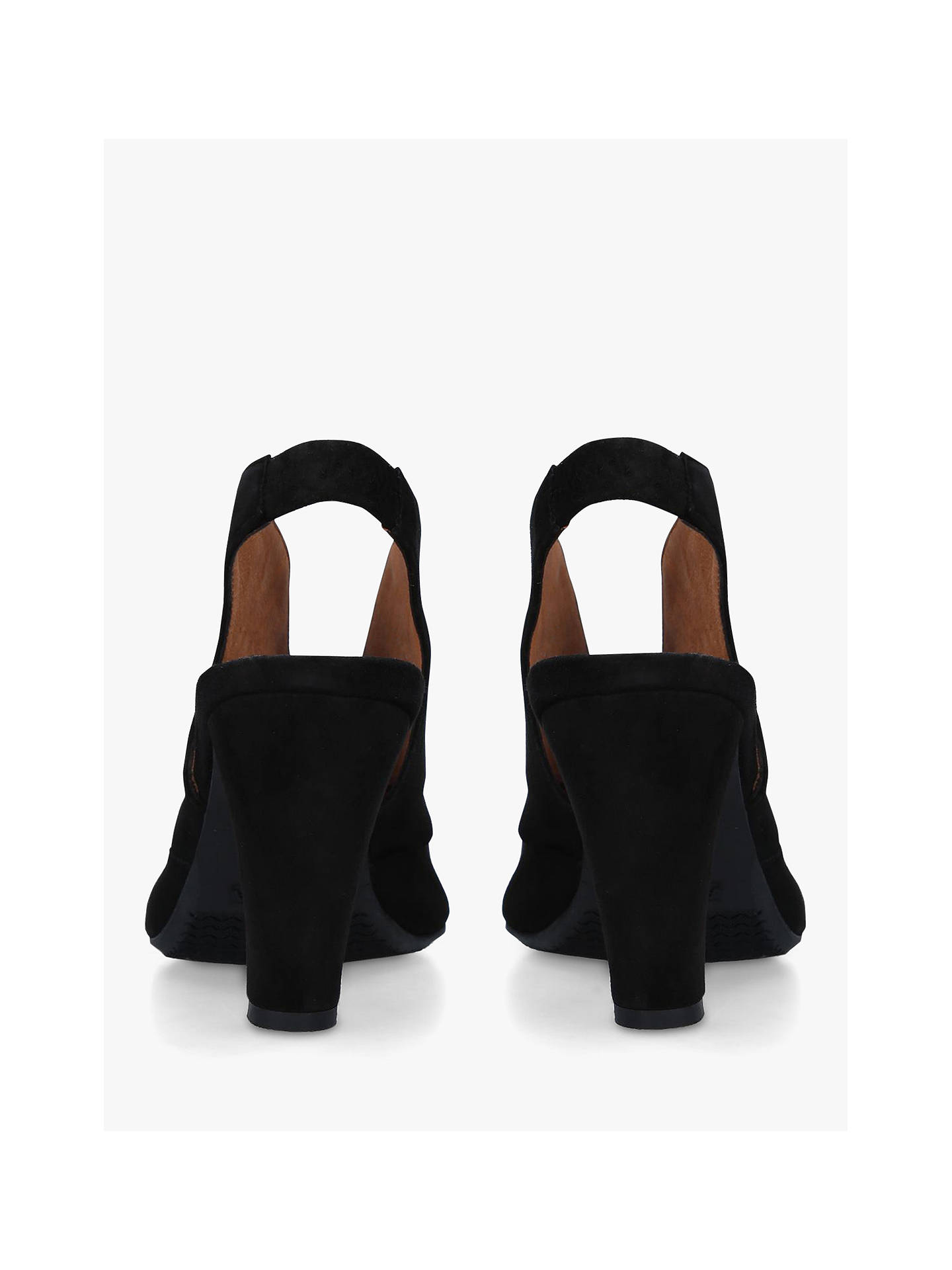 BuyCarvela Comfort Arabella Cone Heel Open Toe Court Shoes, Black Suede, 3 Online at johnlewis.com