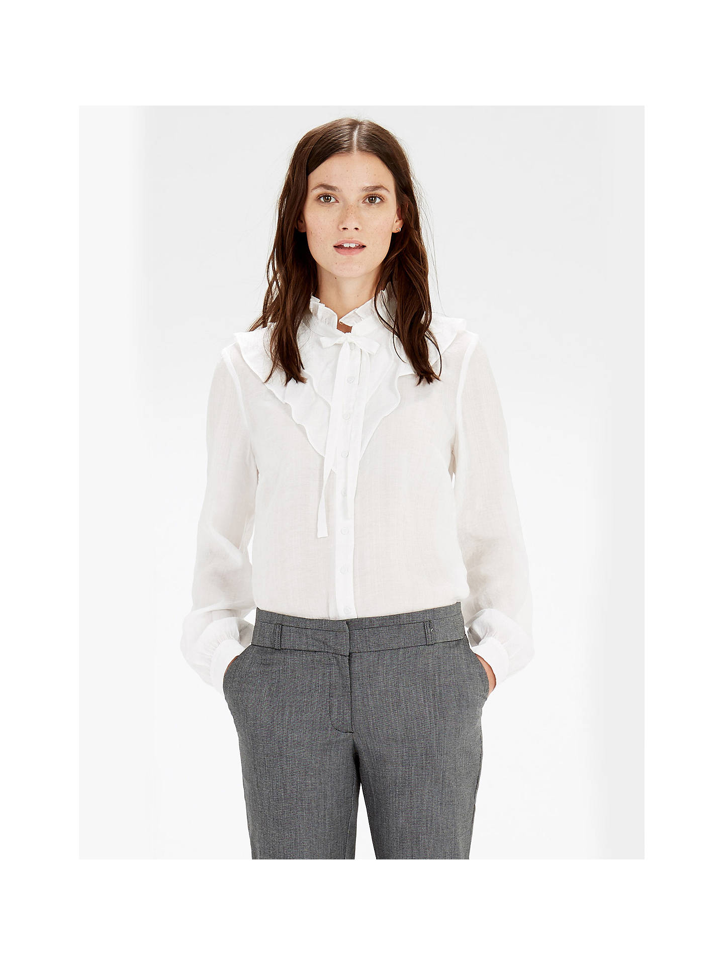 Buy Warehouse Jacquard Ruffle Front Blouse, Cream, 6 Online at johnlewis.com