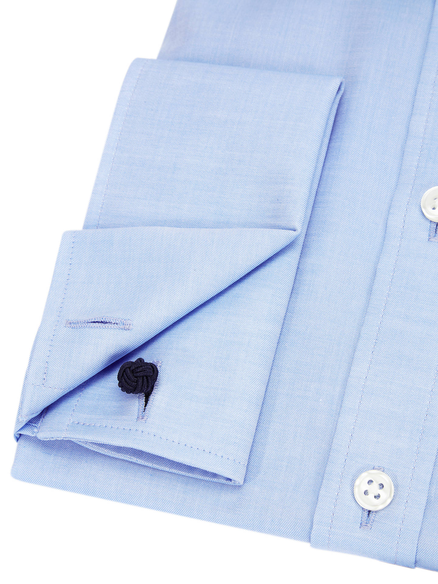 BuyJohn Lewis & Partners Non Iron Twill Double Cuff Tailored Fit Shirt, Blue, 15 Online at johnlewis.com