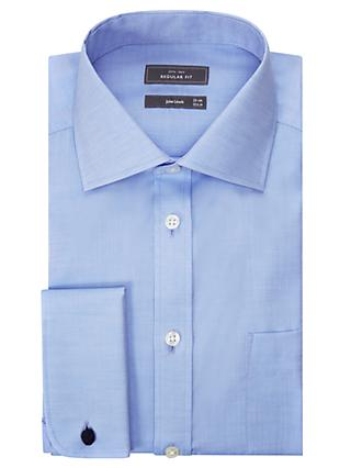 John Lewis & Partners Non Iron Twill Double Cuff Regular Fit Shirt, Blue