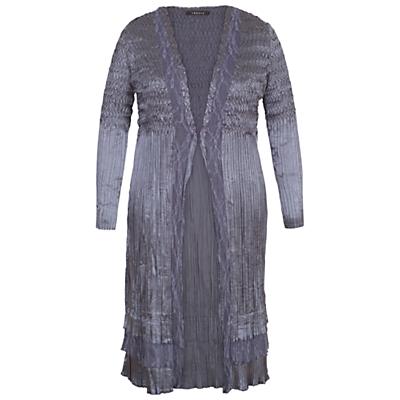 Chesca Lace Crush Pleat Coat, Steel