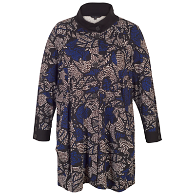 Chesca Printed Jersey Coat, Blue/Multi.