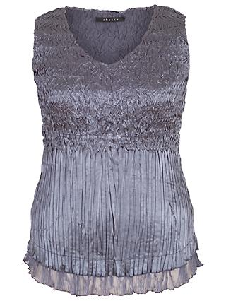 Chesca Lace Crush Pleat Cami, Steel