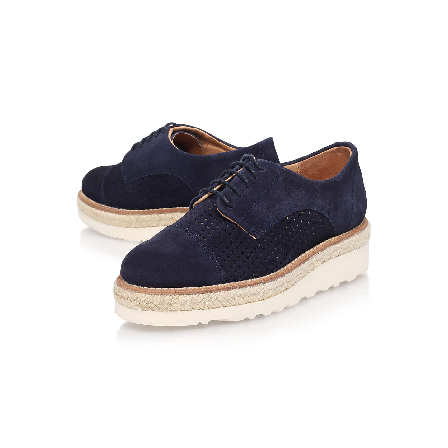 BuyCarvela Lucky Brogues, Grey Suede, Navy Nubuck, 3 Online at johnlewis.com