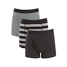 Buy John Lewis Boys' Stripe Pants, Pack of 3, Black/Grey Online at johnlewis.com