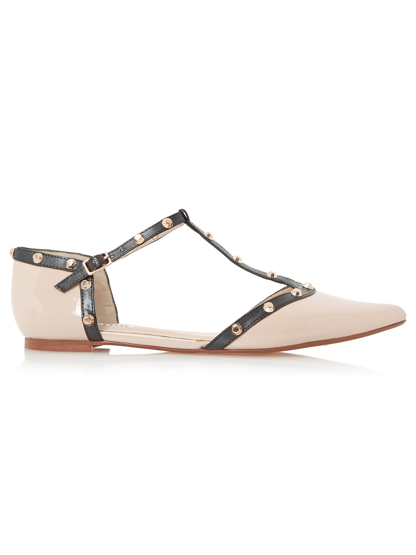 bad15d0d3a Buy Dune Heti Studded Pointed Flat Shoes, Nude Patent, 3 Online at  johnlewis.
