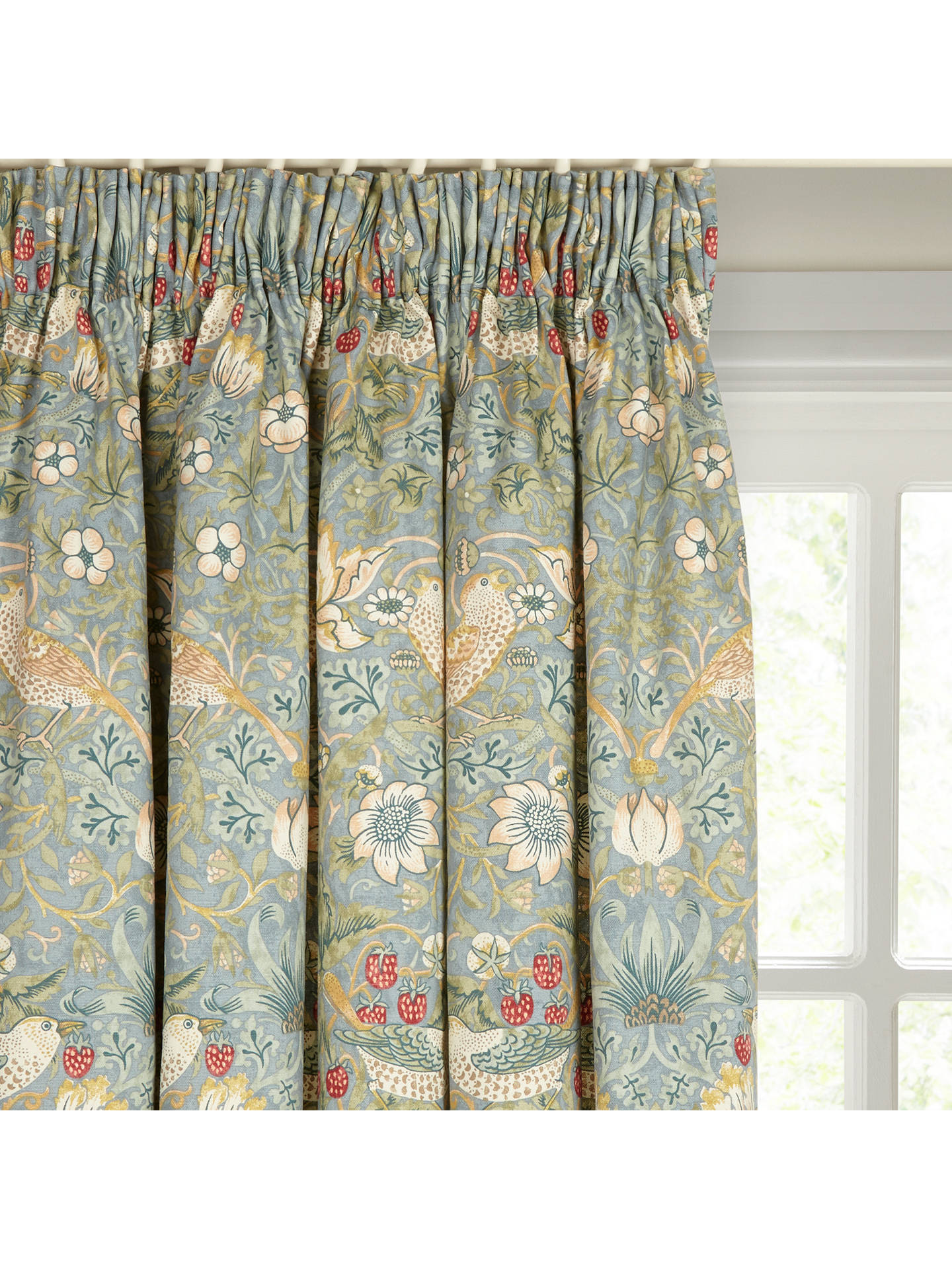 Strawberry thief pair lined pencil pleat curtains duck egg w167