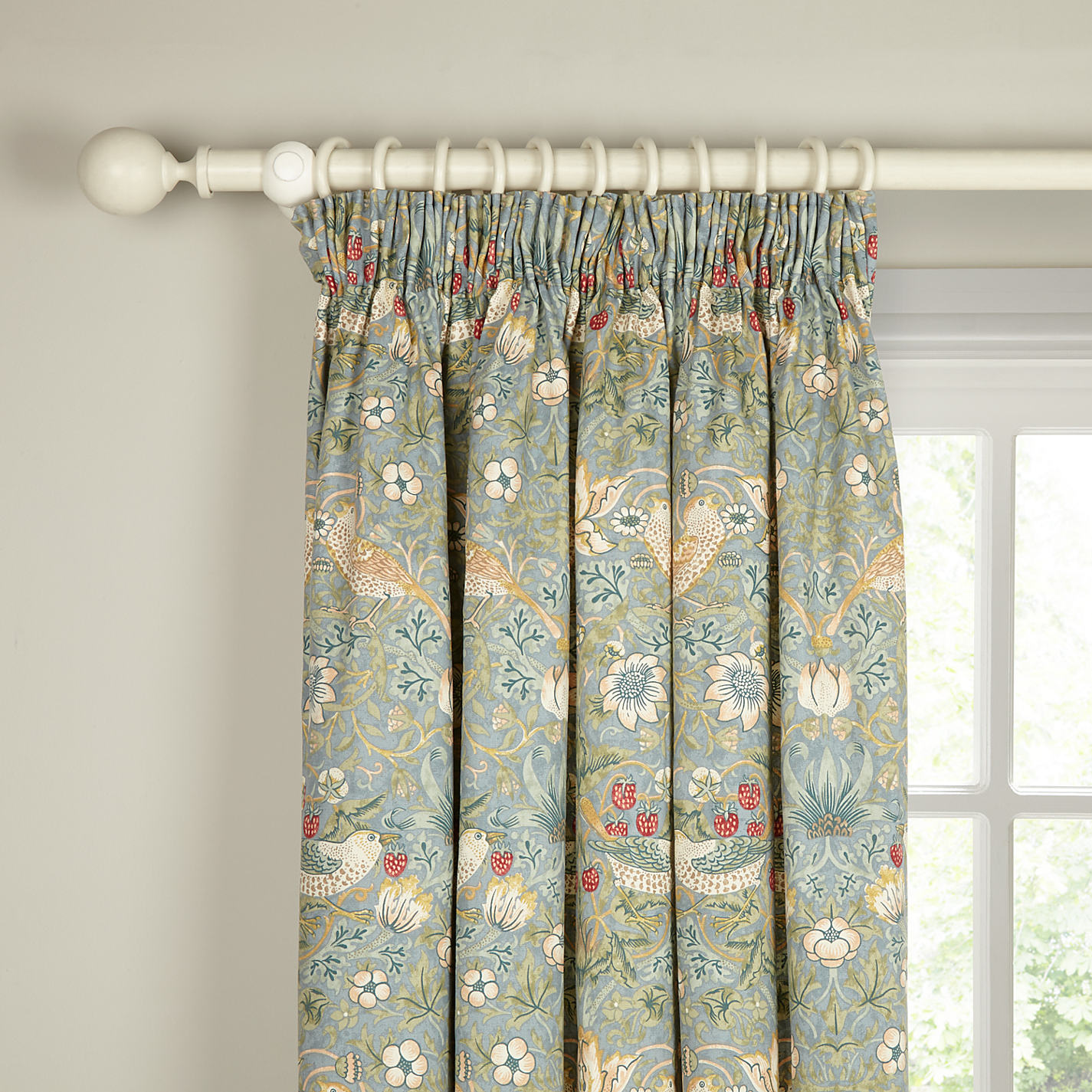 Grey and yellow curtains uk john lewis -  Buy Morris Co Strawberry Thief Lined Pencil Pleat Curtains Online At Johnlewis