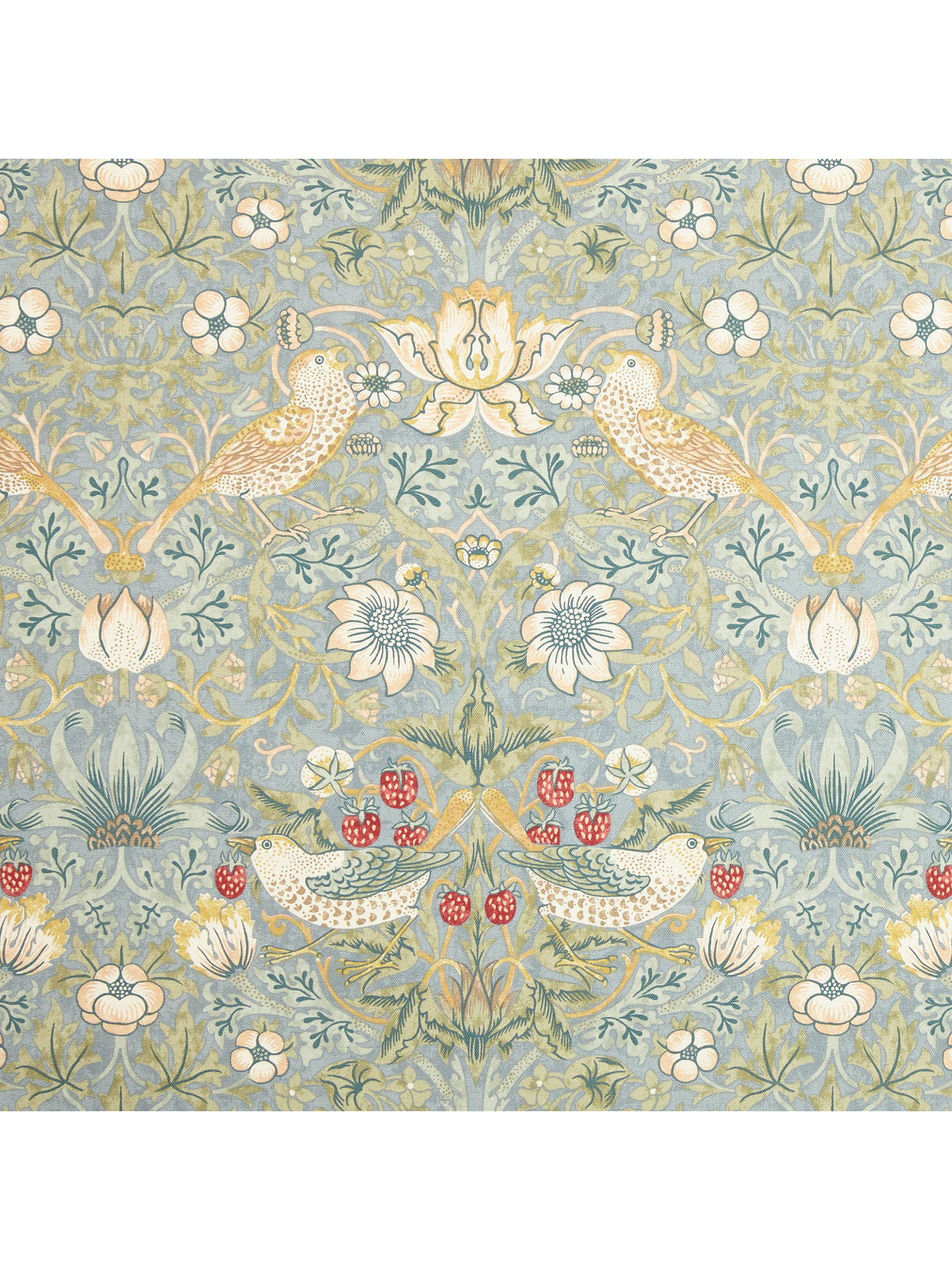 Buy Morris & Co. Strawberry Thief Pair Lined Pencil Pleat Curtains, Duck Egg, W167 x Drop 137cm Online at johnlewis.com