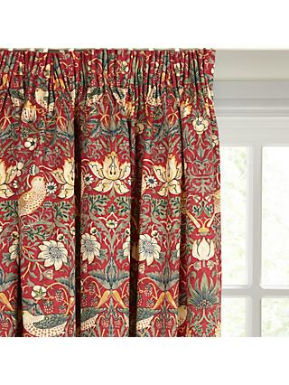 Morris & Co. Strawberry Thief Pair Lined Pencil Pleat Curtains, Red
