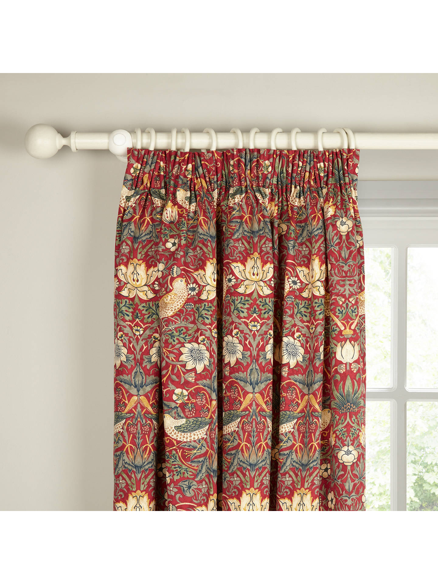 Buy Morris & Co. Strawberry Thief Pair Lined Pencil Pleat Curtains, Red, W117 x Drop 137cm Online at johnlewis.com