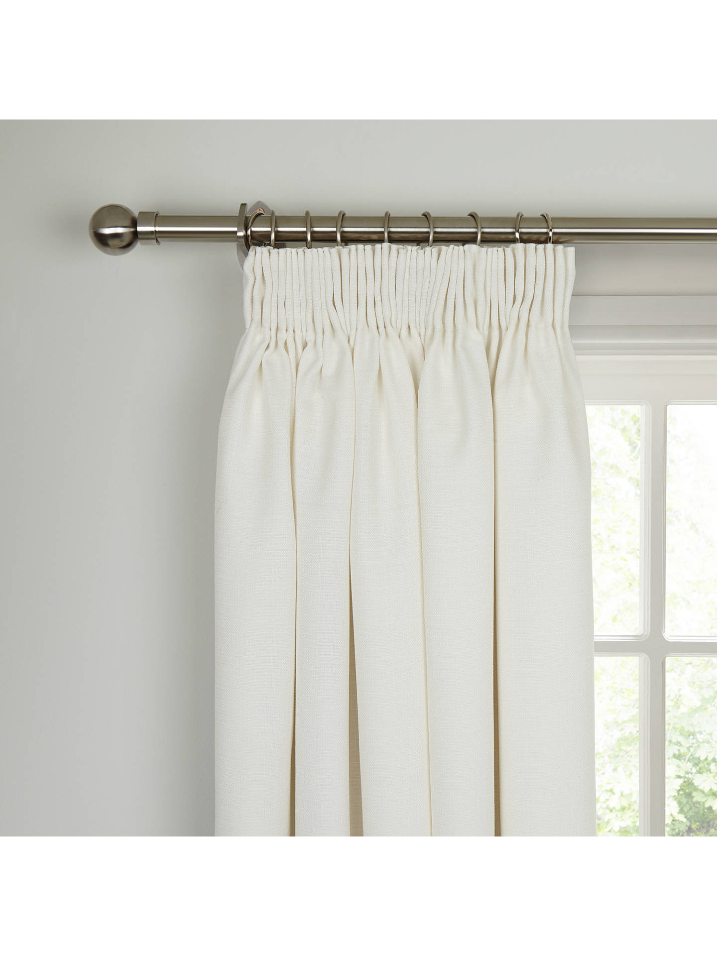 Buy John Lewis & Partners Barathea Pair Blackout Lined Pencil Pleat Curtains, Oyster, W167 x Drop 274cm Online at johnlewis.com