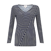 Buy East Reverse Print Stripe Top, Navy Online at johnlewis.com