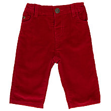Buy John Lewis Baby Woven Corduroy Trousers, Red Online at johnlewis.com