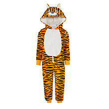 Buy John Lewis Children's Tiger Fleece Onesie, Orange Online at johnlewis.com