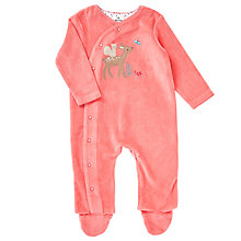 Buy John Lewis Baby Velour Deer Romper Playsuit, Pink Online at johnlewis.com