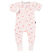 Buy Bonds Baby Zip Wondersuit Star Print Sleepsuit, White/Pink Online at johnlewis.com