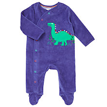 Buy John Lewis Baby Velour Dino Sleepsuit, Blue Online at johnlewis.com