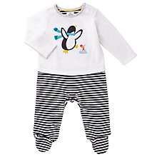 Buy John Lewis Baby Penguin Sleepsuit, White/Black Online at johnlewis.com