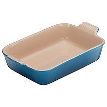 Buy Le Creuset Deep Rectangular Stoneware Oven Dish, Marseille Blue Online at johnlewis.com