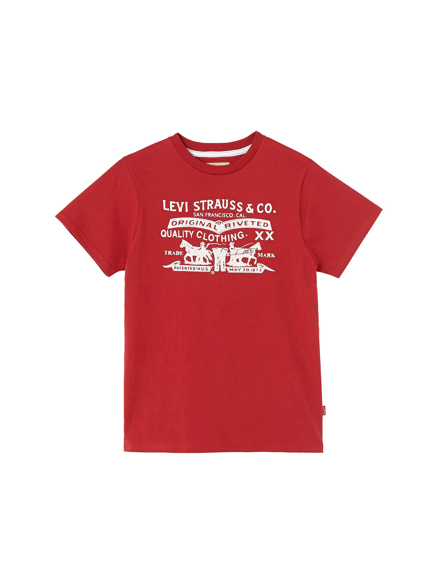 66cda570 Levi's Boys' Two Horse Graphic Short Sleeve T-Shirt, Red at John ...