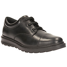 Buy Clarks Children's Mayes Walk Leather Lace-Up School Shoes, Black Online at johnlewis.com