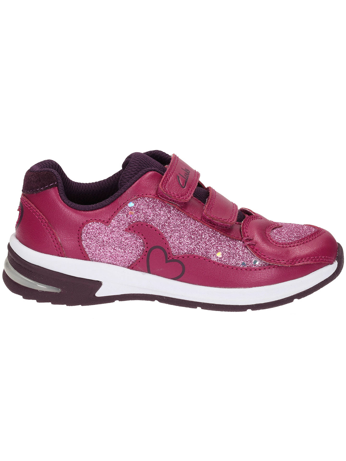 PIPER CHAT INFANTS GIRLS CLARKS GLITTER LIGHTS RIPTAPE SPORTS TRAINERS SHOES