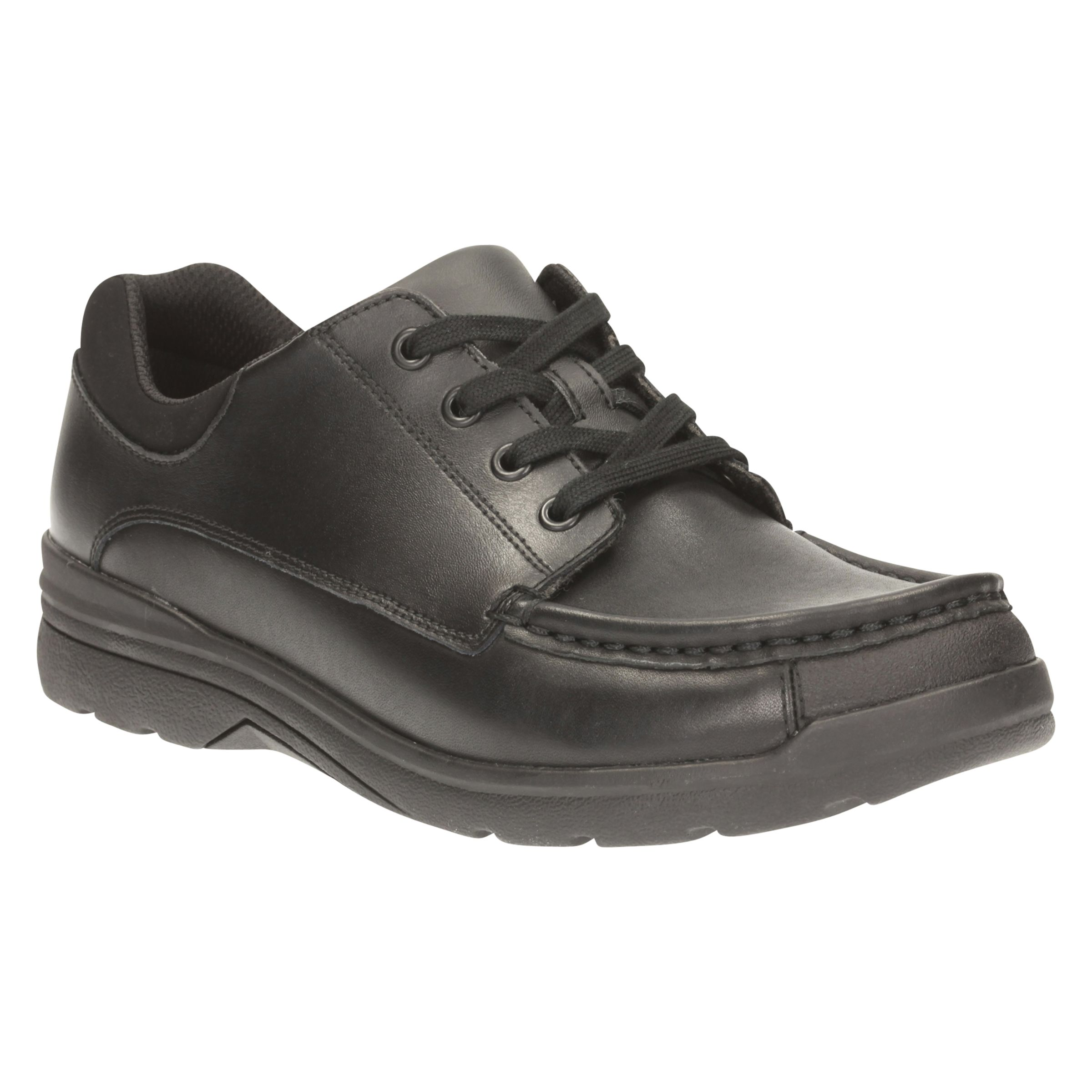 Loris Step Back To School * G Fitting- Boys Black Leather Lace-Up Clarks