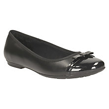 Buy Clarks Children's Tizz Fizz Leather Ballerina School Shoes, Black Online at johnlewis.com