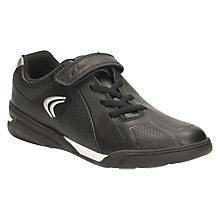 Buy Clarks Children's Award Leap Astroturf Leather Trainers, Black Online at johnlewis.com