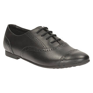 Clarks Children's Selsey Cool Leather Brogue School Shoes, Black
