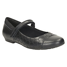 Buy Clarks Children's Tizz Whizz Leather Shoes, Black Leather Online at johnlewis.com