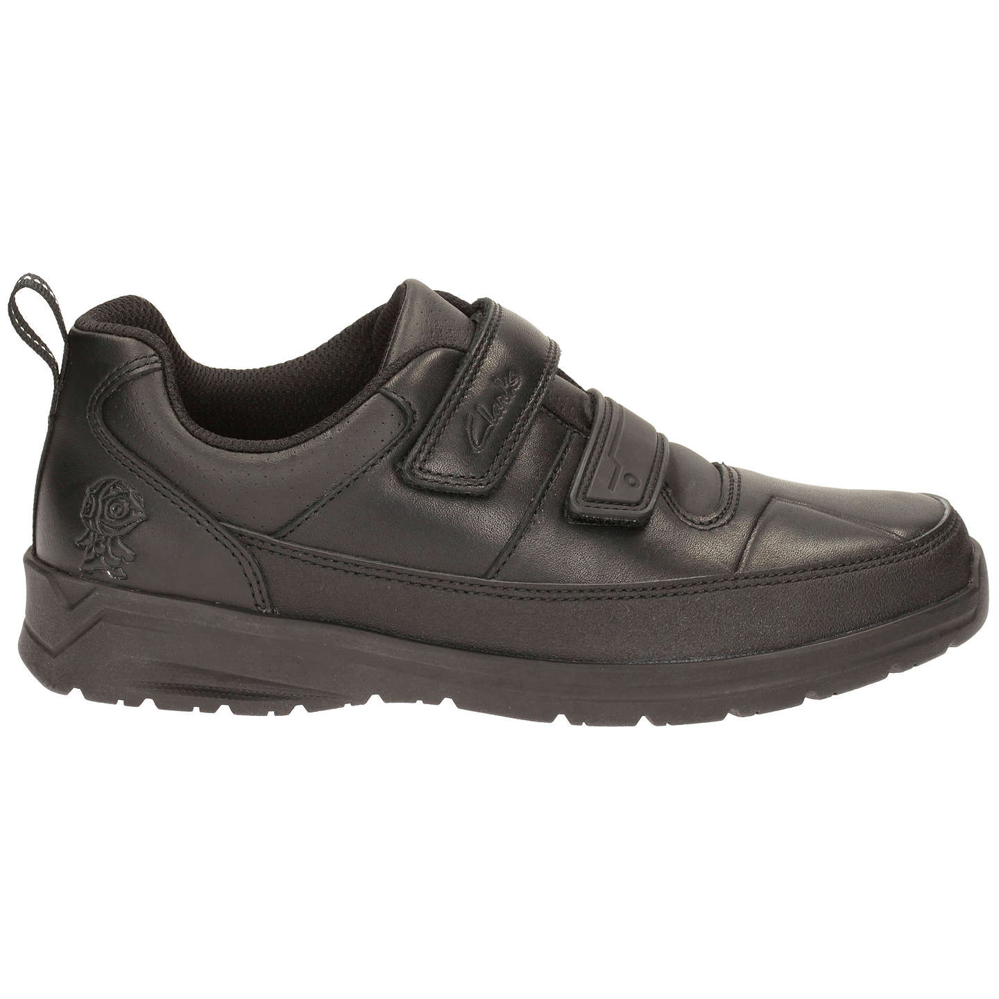 Clarks Gloforms Reflect Ace Junior Boys School Shoes in Black Leather 3 G Black Leather Q9o0Y4T