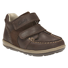 Buy Clarks Children's Softly Doc Riptape Shoes, Brown Online at johnlewis.com