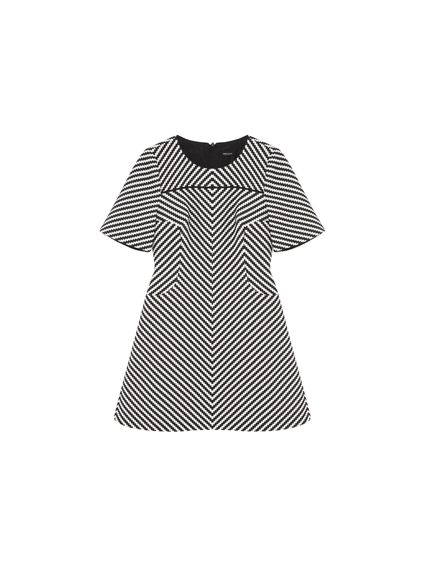 90f9992cc74e4 Karen Millen Modern Zig Zag Dress, Black/White at John Lewis & Partners