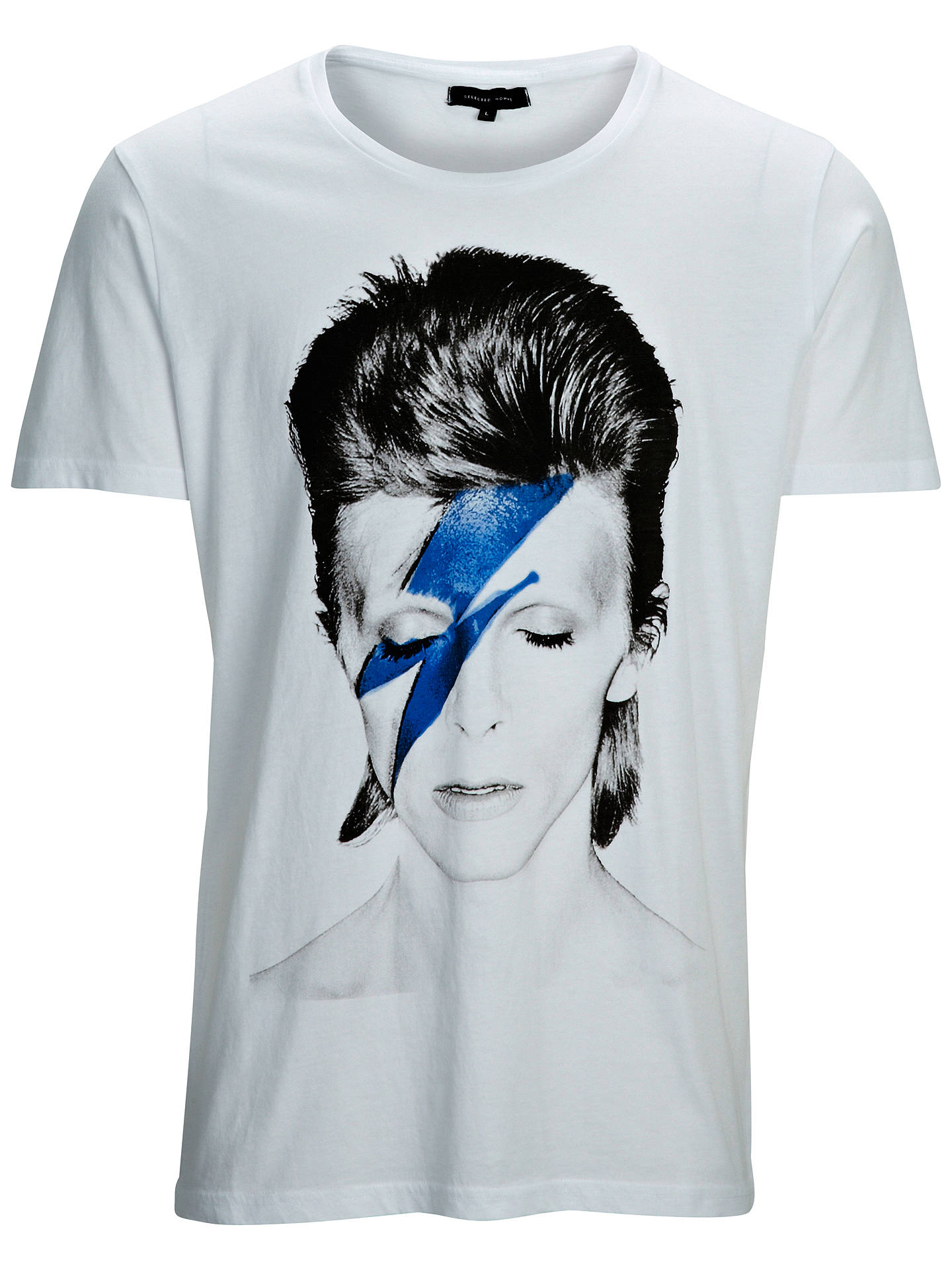 Selected Homme David Bowie Short Sleeve Crew Neck T Shirt White At John Lewis Partners