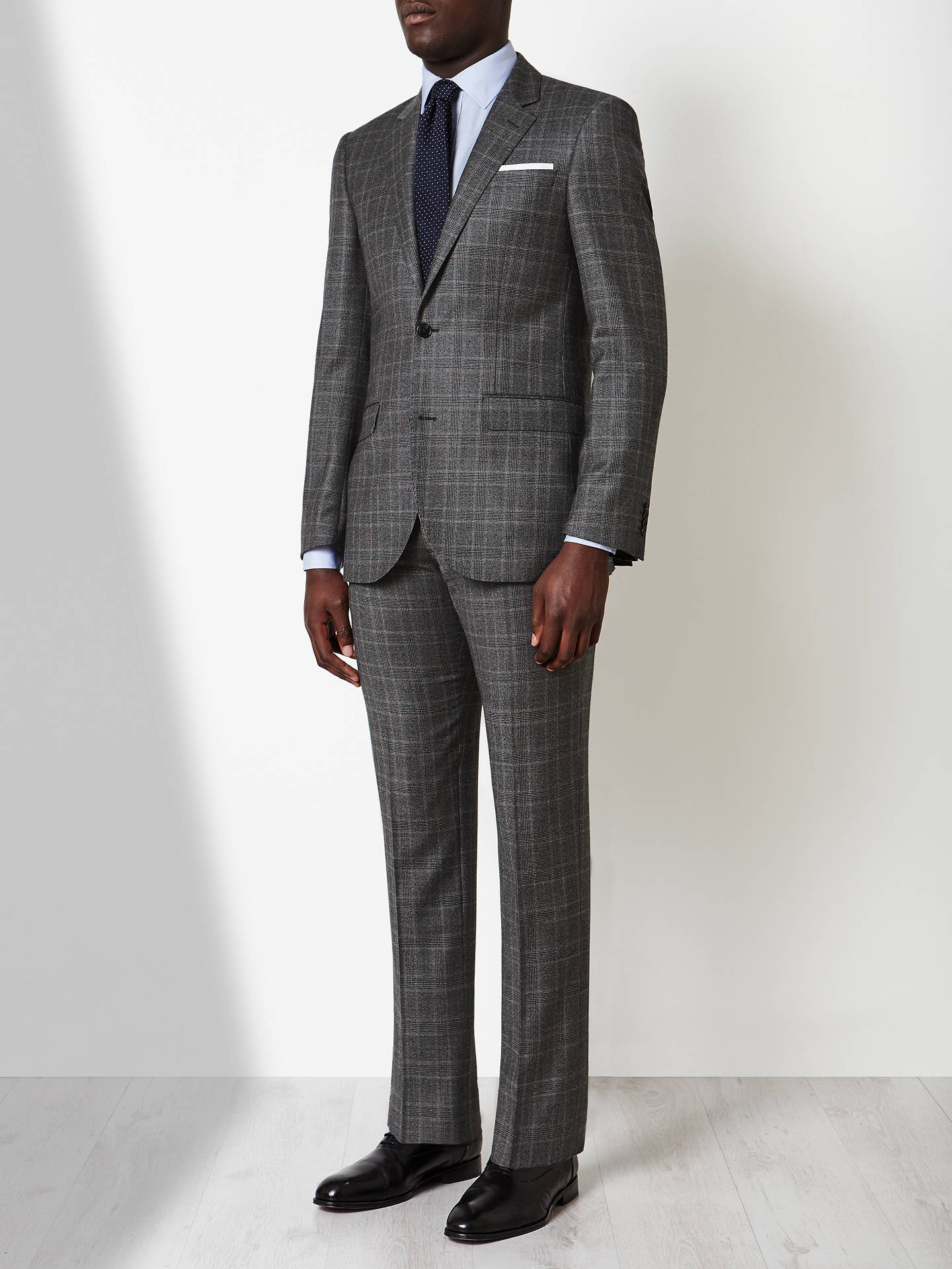 Buy John Lewis Italian Super 110s Wool Milled Check Tailored Suit Jacket, Grey, 36R Online at johnlewis.com
