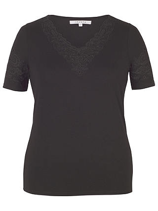 Buy Chesca Cut-Out V-Neck T-Shirt, Black, 12-14 Online at johnlewis.com