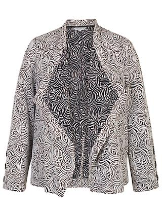 Chesca Jacquard Button Trim Jacket, Navy/Ivory
