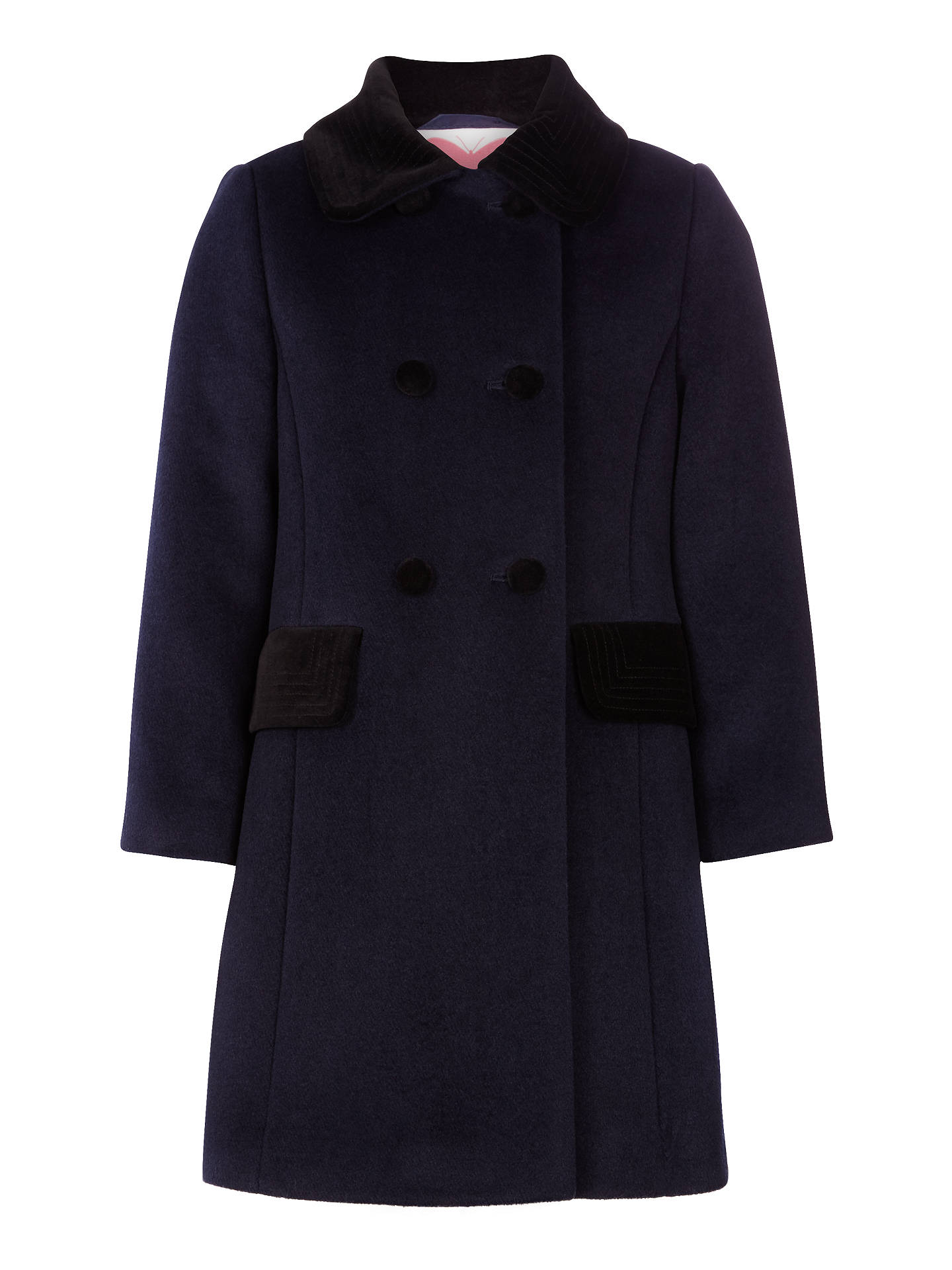 cbb755d6058 Buy John Lewis Girls' Formal Velvet Collar Coat, Peacoat, 2 years Online at  ...