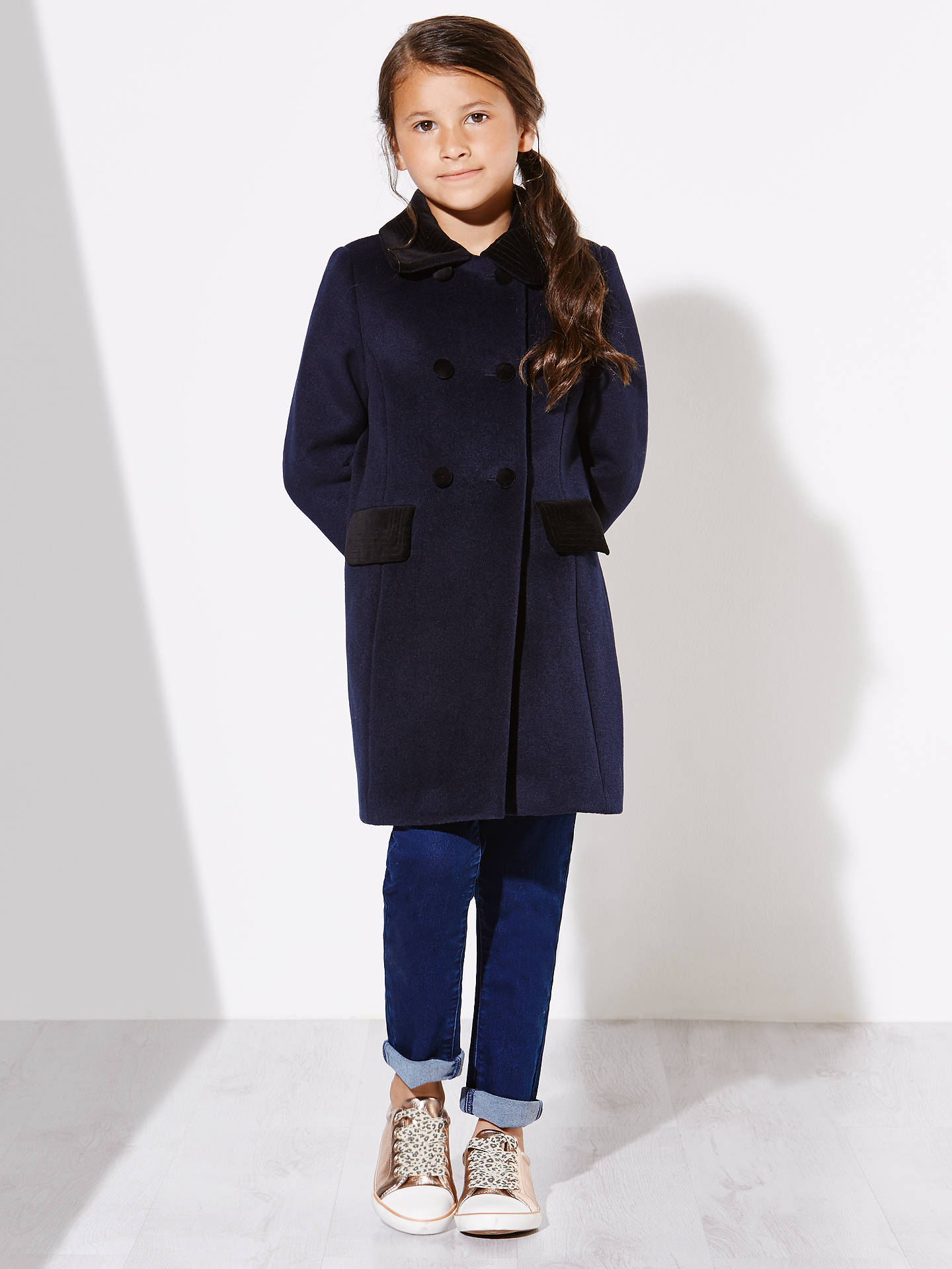 29fbfd642d3 ... Buy John Lewis Girls' Formal Velvet Collar Coat, Peacoat, 2 years  Online at ...