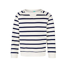 Buy John Lewis Girls' Long Sleeve Stripe Top, White/Peacoat Online at johnlewis.com