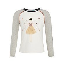 Buy John Lewis Girls' Fairy Graphic Print T-Shirt, White/Grey Online at johnlewis.com