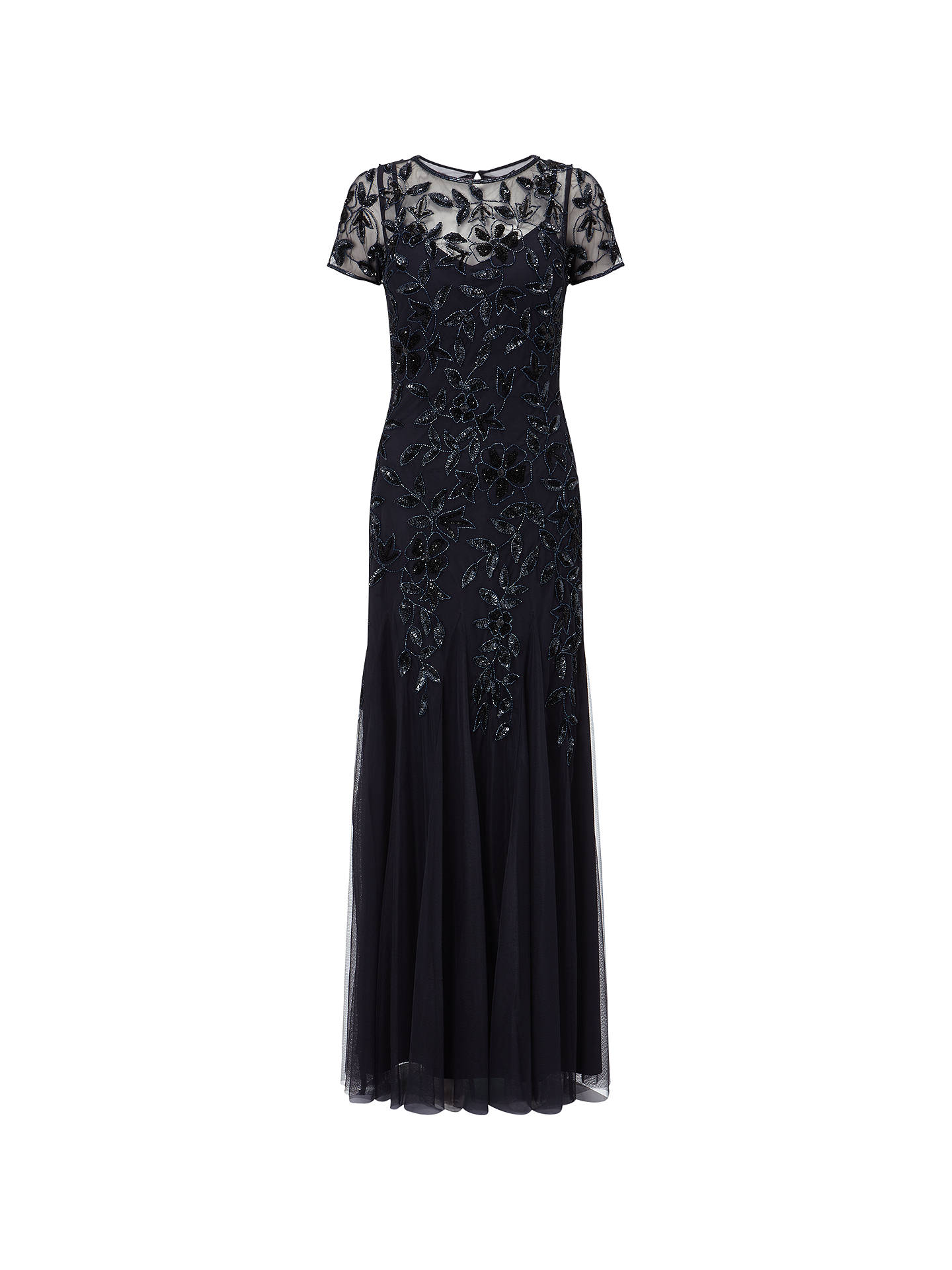 1afec961b428 Buy Adrianna Papell Floral Beaded Gown, Twilight, 14 Online at  johnlewis.com ...