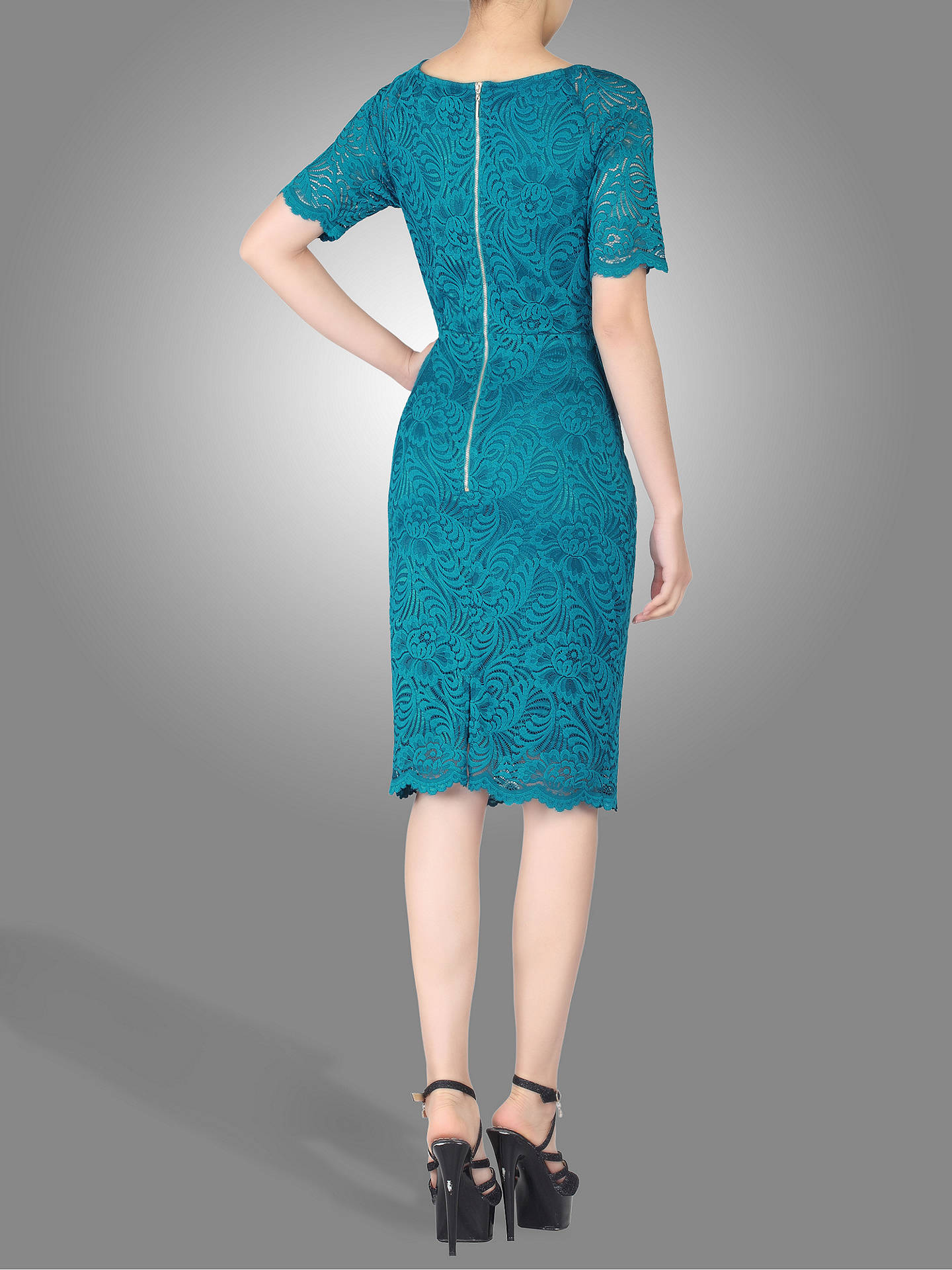 BuyJolie Moi Lace Ruched Shift Dress, Teal, 8 Online at johnlewis.com