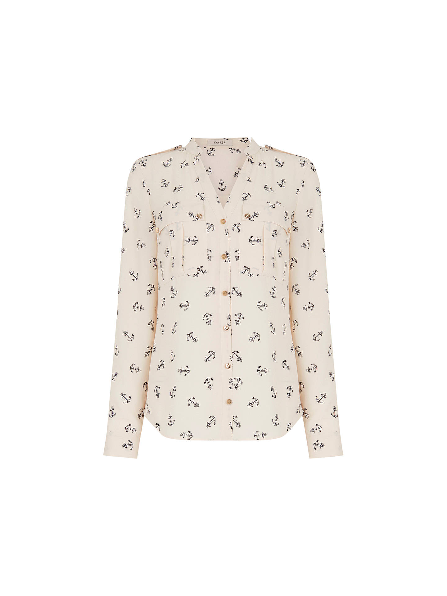 56b73156b7d6 Buy Oasis Anchor Print Shirt, Natural, 8 Online at johnlewis.com ...